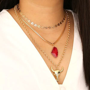 Red & Gold Steer Skull Multilayer Chain Necklace